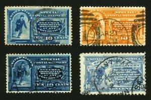 #E2, #E3, #E5 & #E10 10c 1888-1916 Special Delivery Small Lot of 4 Used