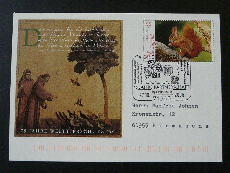 religion Saint Francis of Assisi bird pigeon postal stationery Germany 98342