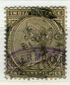 INDIA; 1880s classic QV issue fine used + Fiscal cancel 1a. 6p. value