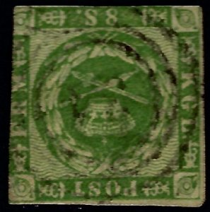 Denmark SC#8 Used Fine SCV$82.50...Highly collectible!