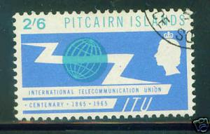 Pitcairn Islands Scott 53 ITU 1965 used stamp CV $6.25