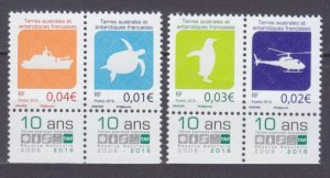 2016 French Antarctic Territory 928-931Paar+Tab Turtle, Penguin, Ship