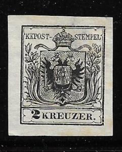 Austria 2 1850 2kr Unused NO GUM Large Thin Nice Front (BB)