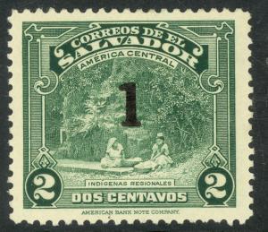 EL SALVADOR 1944-46 1 on 2c Indian Women Washing Pictorial Sc 591 MH