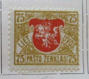 A11P4F7 Litauen Lituanie Lithuania 1919 Wmk Wavy Lines 75sk White Paper MH*