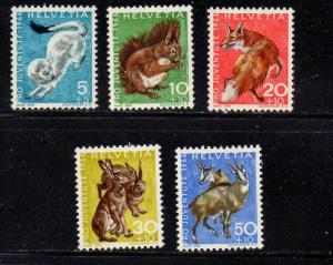 Switzerland Sc B360-4 1966 Pro Juvente stamp set mint NH