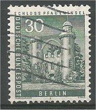 BERLIN, 1957, used 30pf Pfaueninsel Castle Scott 9N130