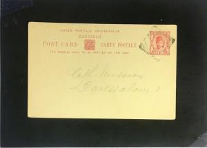 Zanzibar Early UPU Postal Card Used - Z2324