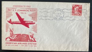 1946 Stockholm Sweden Airmail First Commercial Flight cover To Oslo Norway AA