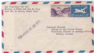 canal zone 1949  political adviser military stamps cover ref r14506