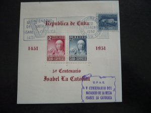 Stamps  - Cuba - Scott# C50a - Used Souvenir Sheet of 2 Stamps - First Day Cover