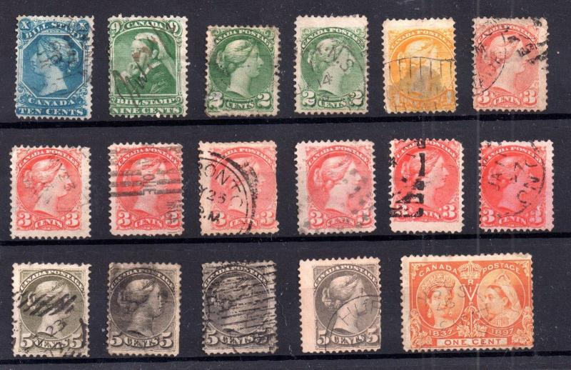 Canada QV unchecked used collection x 17 values WS7123