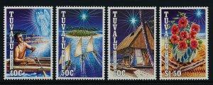 Tuvalu 621-4 MNH Christmas, Fisherman, Angel, Flowers