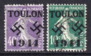 FRANCE TOULON OVERPRINTS x2 DIFFERENT USED F/VF SOUND SOWERS