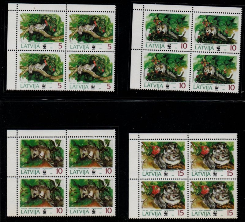 Latvia Sc 381-84 1994 Mice WWF stamp set mint NH blocks of 4