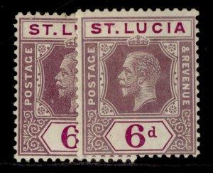 ST. LUCIA GV SG84 + 84a, 6d SHADE VARIETIES, M MINT. Cat £18.