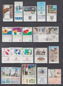 Israel Sc 1038/1196 MNH 1990-93 issues, 12 sets w/ tabs