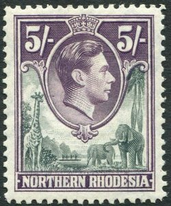 NORTHERN RHODESIA-1938-52 5/- Grey & Dull Violet Sg 43 LIGHTLY MOUNTED MINT
