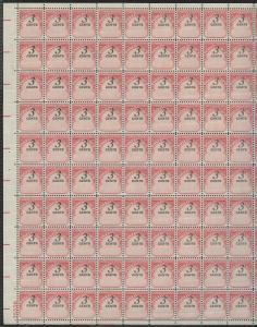 #J91 3¢ POSTAGE DUE FULL SHEET OF 100 WITH BLACK MAJOR SHIFT ERROR WL9338