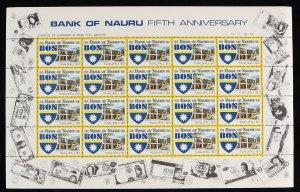 NAURU : 1981 Bank of Nauru $1 sheet of 20 with world banknotes. MNH **.