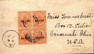 ST KITTS Cover 1½d Block{4} WAR TAX Overprint USA Cincinnati 1919{samwells}PB324