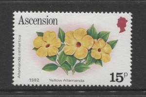 ASCENSION- Scott 282 - Flowers -1981 - MVLH - Single 15p Stamp