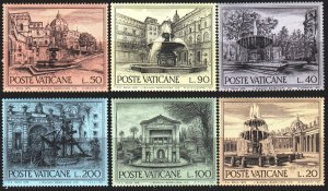 Vatican. 1975. 657-62. Architecture, fountains, sailboat. MNH.