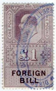 (I.B) Edward VII Revenue : Foreign Bill £1