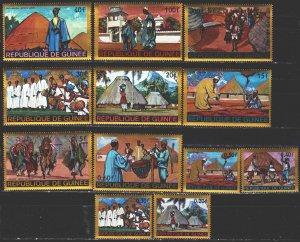 Guinea. 1968. 468-79. Folk costumes, huts. MNH.
