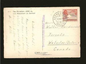 Switzerland 333 on PM 1951 Gornerstrat to Canada Alps Postcard Used