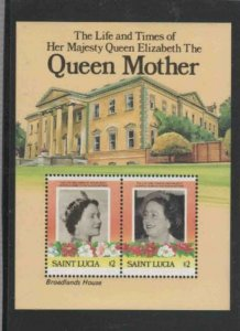ST. LUCIA #786 1985 QUEEN MOTHER 85TH BIRTHDAY MINT VF NH O.G S/S