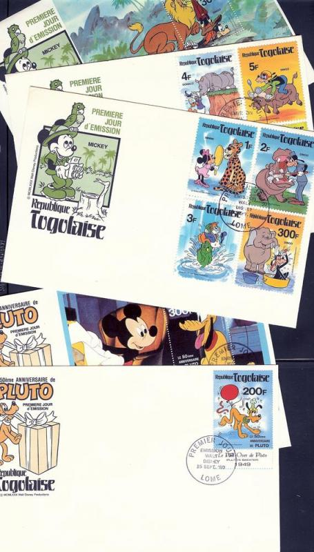 Togo, 1064-72A, Disney - 1980 Set (5) FDC's,**Used**