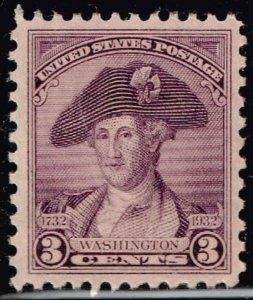 US STAMP #708 1932 3¢ Washington Washington Bicentennial Issue XFS SUPERB