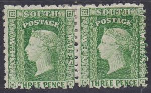 NEW SOUTH WALES 1871 QV DIADEM 3D PAIR WMK CROWN/NSW SG TYPE W36 PERF 10