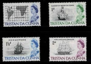 Tristan da Cunha Scott 71-75 MH* QE2 Tall Ships and chart