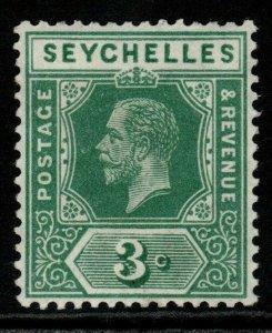 SEYCHELLES SG83 1917 3c GREEN MTD MINT