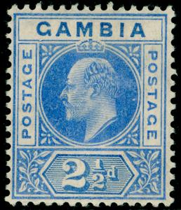 GAMBIA SG60b, 2½d Bright Blue & Ultramarine DENTED FRAME, LH MINT. Cat £325.