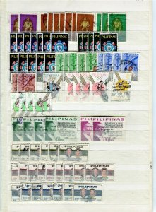 PHILIPPINES; 1950s-60s fine DUPLICATED USED LOT , + POSTMARKS