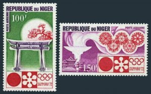 Niger C174-C175,C175a,MNH.Michel 316-317,Bl.7. Olympics Sapporo-1972.Snowflakes.