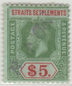 Malaya Straits Settlement 1912-23 KGV $5 wmk MCCA used SG 212? M1316