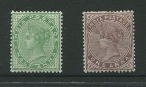 India -Scott 36,38 - QV - Definitive- 1882- MH -1/2a and 1a Stamp