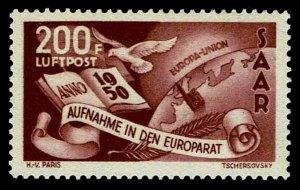 1950 Saar #C12 Airmail Symbols Council of Europe - OGNH - VF - $175.00 (E#1428)