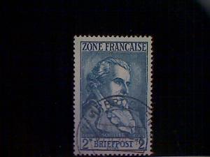 Germany (FrOccZone), Scott #4N12, used(o), vonSchiller, 2mks, blue