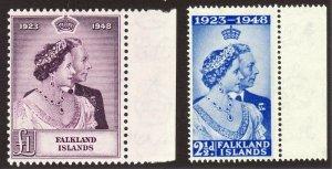 1948 Falkland Island QE complete set (2) MNH Silver Wedding Sc# 99 / 100