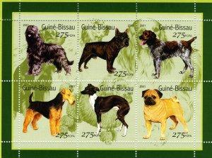 Guinea-Bissau MNH S/S Pedigree Dogs 2001 6 Stamps