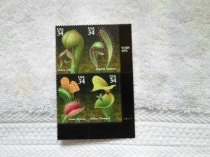 SC # 3528- 31 34 CENTS CARNIVOROUS PLANTS 4 VAR. ATTACHED ( MNH )