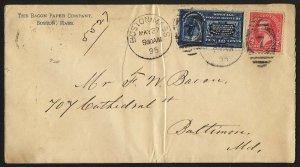 E42 U.S. Scott #E4 Special Delivery cover May 27, 1895. SCV = $300