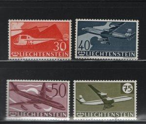 LIECHTENSTEIN C34-C37 (4) Set, MNH, 1960 Planes and Helicopter