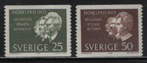SWEDEN, 637-638 HINGED, 1963, Winners of 1903 Nobel prize