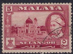 Malaya Selangor 1957 - 61 QE2 5 ct Carmine Lake SG 119 ( L1455 )